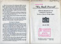 """We Shall Prevail"" Speech Broadcast by Viscount Halifax, Secretary of State for Foreign Affairs"