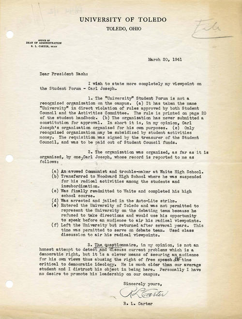 Carter writes to Nash about Joseph's involvement with the Communist party, trouble school records, arrest after the Auto-Lite strike, and his record as student at the university