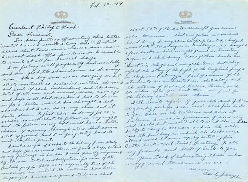 Handwritten letter from Joseph to Nash, mentions the books on Italy, a furlough in London, and the hope of seeing the war end soon