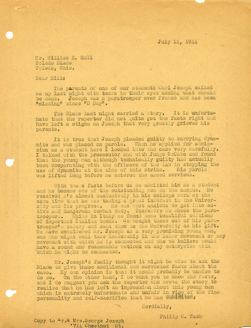 Nash writes to William E. Hall about Carl Joseph (paratrooper) missing in action since D-Day