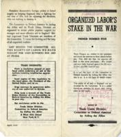 Organized Labor's Stake in the War