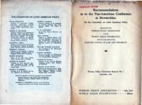 Recommendations as to the Pan-American Conference at Montevideo