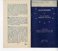 Address by the Honorable Herbert Hoover, May 11, 1941
