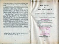 War Taxes and War Economics