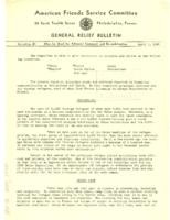 American Friends Service Committee General Relief Bulletin #3, April 1, 1943