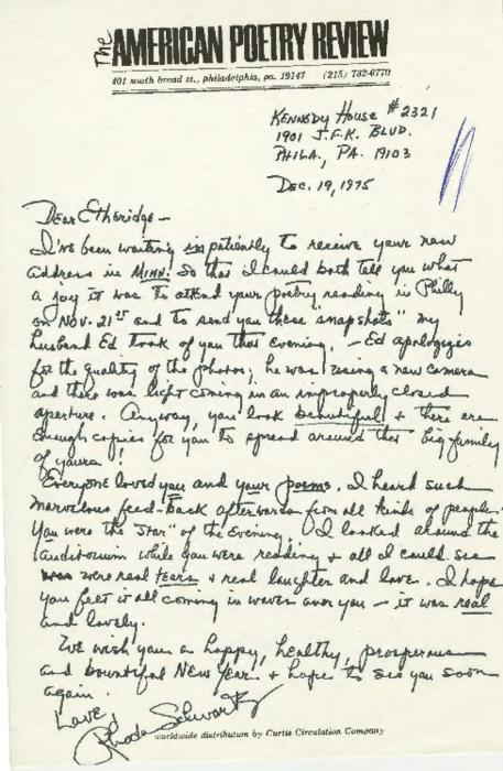The American Poetry Review letter