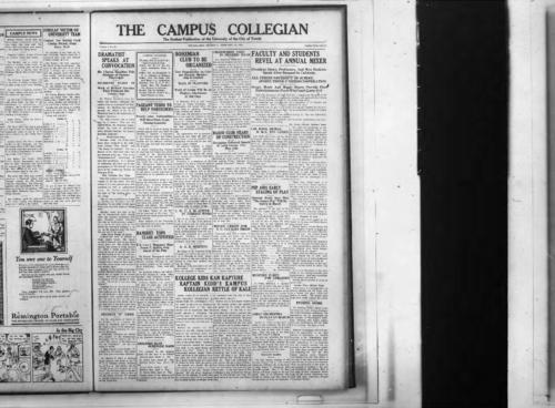 Dramatist Speaks at Convocation--Pageant Tends to Help Foreigners--Banquet Tops Class Activities--Bohemian  Club to Be Organized--YWCA is Active in Foreign Work--AAE Meeting--Crosswords Used in Pharmic Exam--Radio Club Hears of Construction--Money Credit for TU Cavalry Troop--Faculty and Students Revel at Annual Mixer--Chi Rhos, Sigma Win Games--Pep Aids Early Staging of Play--Student Y News--Banquet Tops Class Activities--Debaters Have Schedule Made--Kollege Kids Kan Kapture Kaptain Kidd's Kampus Kollegian Kettle of Kale-- Mystery Party For Athletes--Girls Orchestra to Play in March--Evening Mixer--A Step Up--An Honor System--Some Folks--Lunch time--Men's Mixer--Wild Ties--The Teaser Writes--Late Again--Introspection--Cafeteria Rules--How Come!--Student Opinion--Exchanges--Neophytes Outwit Seasoned Greeks--Wit From Other Colleges--Holland Schools Show Differences--Campus News--Peppers Put Punch in St John Game--Tri-state Scores Victory Over TU--Sport Shorts--Organizations--Student Opinion--WA Wants More Interest Shown--Other Colleges--Banter, The Collegian Microfilm, Roll #2.