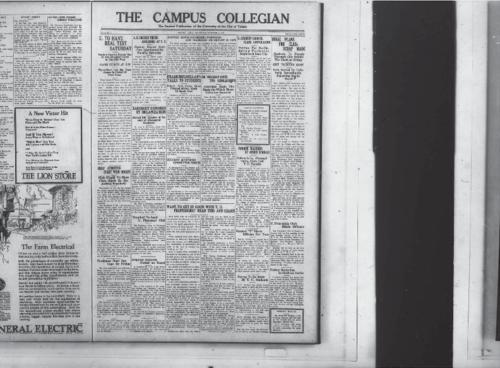 TU To Have Real Test Saturday--Girls Athletics Start With Hockey--A.B. Degree Thesis Abolished at TU--Zarobsky Honored by Organization--Doctor Dowd Considers Positions and Marriage Important in Life--Frank Mulholland Talks to Students--Student Activities Committee Meets--Dr Holliday Gives Two Scholarships--TU Student Council Plans Convocation--Former Teachers at Other Schools--Final Plans for Class Scrap Made--Freshman Must Buy Caps by Friday--Trumbull to Lead TU Pharmacy club--Required Subjects Posted on Board--Want to Get in Good with TU Professors?  Read This and Learn--Student Y Elects Officers for Year--Survey To Be Made by TU Students--TU Friendship Club Elects Officers--Father Meets Son in Gridiron Battle--Athletes Not Scholars--Spring--Dear Faculty--Was It You?--Frosh Give Sophs Startling Surprise--Student Opinion--Organizations--Campus News--University Student Leads Hectic Life--Mustachios--A Fight For Live--The Logical Side--Banter--Two Time--Lies vs Science--Welcome Extended by YW To Co-Eds--Sic Em Sempre--Photo of TU Football Team--TU Loses Close Game to Buffalo--Flea Has Poor Ant Up A Tree--Artists and Models Entertain TU Rockets After Buffalo Game--Notes on the Buffalo Game--Sport Scraps--Freshmen Vengeance Committee--Say It with Flour, The Collegian Microfilm, Roll #2.
