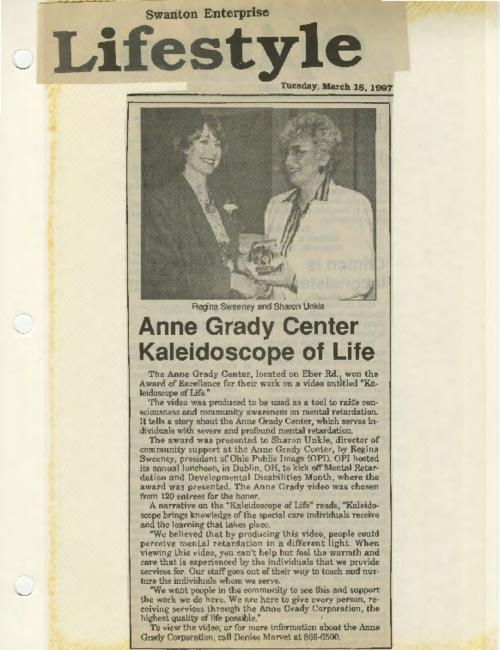 Swanton Enterprise news article of Anne Grady Center winning Kaleidoscope of Life Award
