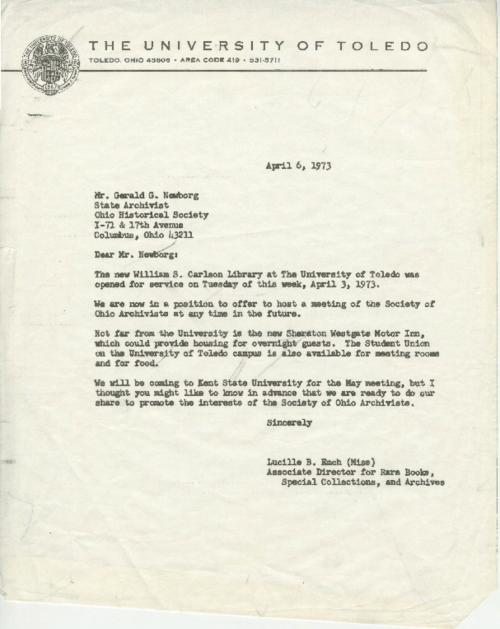 Emch's Letter to State Archivist Newborg for hosting Society of Ohio Archivists [unsigned]