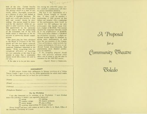 Doermann proposes the organization of a Toledo Drama League and a Community theatre for the 1932-33 season