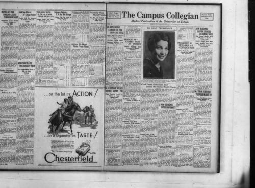 Sig Bets Defeat Lambda Chi For 1930 Cage Title--French Art Exhibit Now At Museum--President is Speaker At Convocation--New Buildings May Be Started In Coming Week--R.J. Eustace Speaks Before Alpha Phi--Scribblers To Meet Again On March 9--Coed Tennis Enthusiasts Start Season on Oozing Muddy Courts--Dr. Tibor Eckhardt To Speak March 19--52 New Students Enter University--Debating Team Will Compete With Loyola--Swimming Opens At Y for University Coeds--Gospel Team To Be at Point Place--Success in Medicine Possible for Women--Language Class See French Art Display--To Adopt Standard Ring For Four years--Travel For Students--Music Hath Charms, but Where is it?--On Your Honor--From Collegian Files--Puffs From the Chimney--Museum of Art--Watch Tower--Coed Golf Meet Friday in Room 130--Bloated Toad--Society--Psi Chis' Monarchs Lead Intramurals--Book Comment-- On Other Campuses--Y Meets Heidelberg in Final Cage Game--Rocket Outfit Loses Two Men to Graduation--Trackers Gambol Gayly Over Hoofer Rutted Cowpath at Connelly Call--Toledo Loses Last Game To Findlay--Conference Title Goes To Defiance--Plebes Receive Boxing Lessons--Sorority B-B Quint to Play Barb Girls--Vanity, Vanity, All Is Vanity--'Ittle Brown Dog Capers Blithely Around Halls to Startle Coeds, The Collegian Microfilm, Roll#2