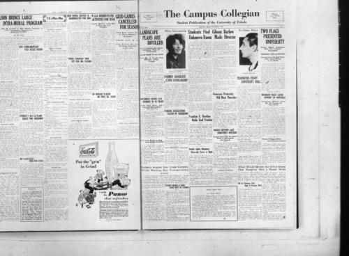 Landscape Plans Are Divulged--Former Graduate Given Scholarship--Students Find Unknown Room--Gibson Barlow Made Director--Transfers Enjoy University Hall--Two Flags Presented University--University Issues 1161 Degrees in 48 years--Parking Regulations Stated By Doermann--Franklyn R. Hawkins Holds Staff Position--Honorary Fraternity Will Meet Thursday--Michigan Daily Lacks Support of Officials--Chorus Retains Last Semester's Officers--O.G. Jones Worked On High Level Bridge Committee--Double Lights Illuminate University Tower at Night--Former Collegian Editor Social Worker at Prison--Students Acquire Sour  Grape Complex While Waiting Bus Transportation--Student Orders At Book Store Must be Claimed--Block That Pun--What Would Mother Say If She Knew that Daughter Had A Bored Walk--Poli Sci. Professor Tries Hand at Practical Work--A Story With A Moral--College Bred Ditch Diggers--Back That Team--Flashes--Hashes--The Thursday Review--Journalism Class Show Increase Over Last Year--Society--New Professors Added to Staff--Mary Dean Shows Splendid Loyalty For University in Art Contribution--Previews--New Players Brighten 1932 Football Outlook--Freshman Women Attend Play Day--Golf Bites Heal While Flies Help Practice Swings--Smoking Regulations Given Men Students--Inaugurate Fall Term On Diamond--Speed Ball Claimed New Women's Sport--University Grid Star Coaches At Woodward--Co-ed Golf Club to Meet For Election of President--Prospects Good For Cross Country Team--Classes In Swimming To Be Held at YWCA--Location of Offices Listed For Freshmen--Plan Football For Intramural League, The Collegian Microfilm, Roll#2