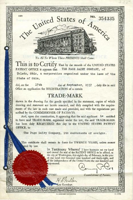 The Page Dairy Company Trademark