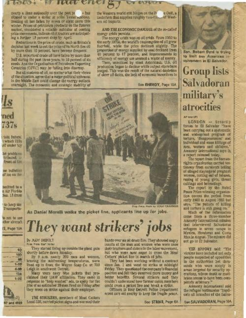 Article in the Free Press by Judy Debolt with a photo of workers on strike while others apply for strikers' jobs