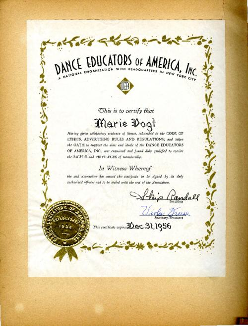 Certificate of Marie Vogt's acceptance as member in the Dance Educators of America, Inc.