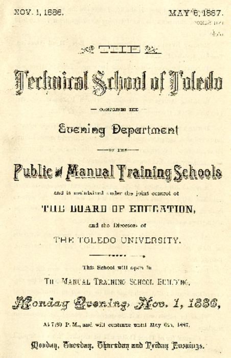 Brochure announcing the evening programs under Public and Manual Training School Public