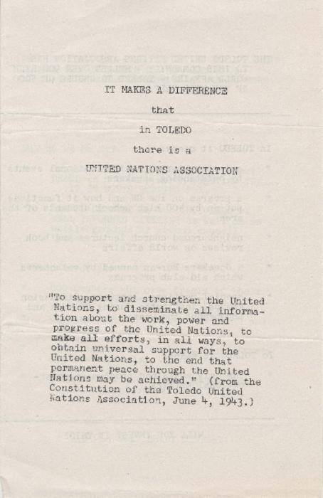 Typescript draft of a brochure describing the events and organization of the Toledo United Nations Association.