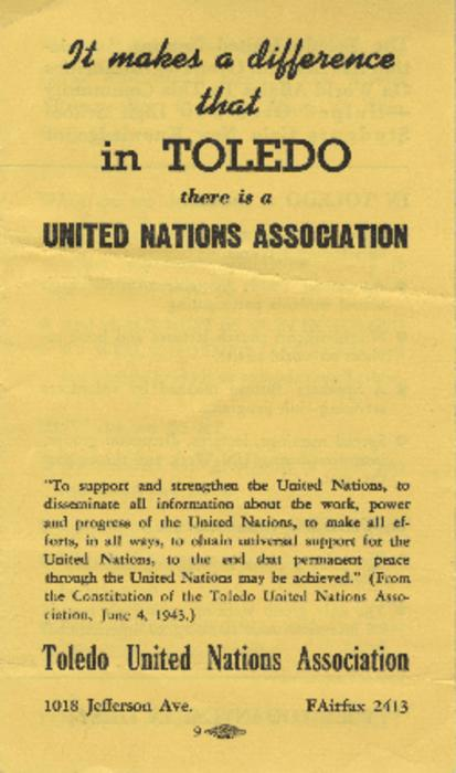 Brochure describing the events and organization of the Toledo United Nations Association.