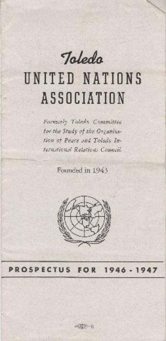 Prospectus for the Toledo United Nations Association 1946-1947 lecture series.