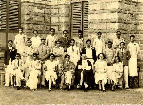 Class photo with Chandrasekhar at Madras Presidency College, 1938/1939?