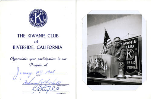 A bi-fold appreciation card from The Kiwanis Club of Riverside, California, thanking Chandrasekhar for participating in their program.