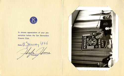 A bi-fold appreciation card from The Kiwanis Club of San Bernardino, California, thanking Chandrasekhar for presenting.