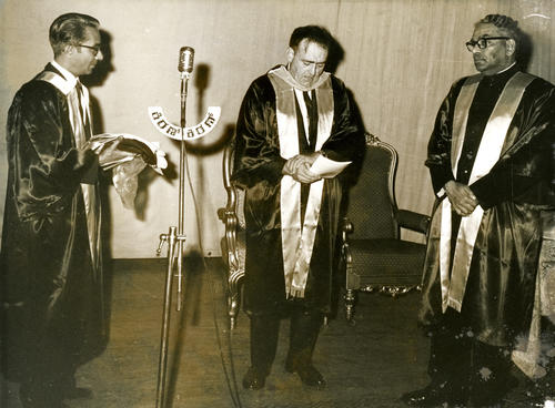 Dr Chandrasekhar receives an Honorary Doctorate of Science, University of the Pacific, special convocation at Bangalore, Feb. 2, 1970