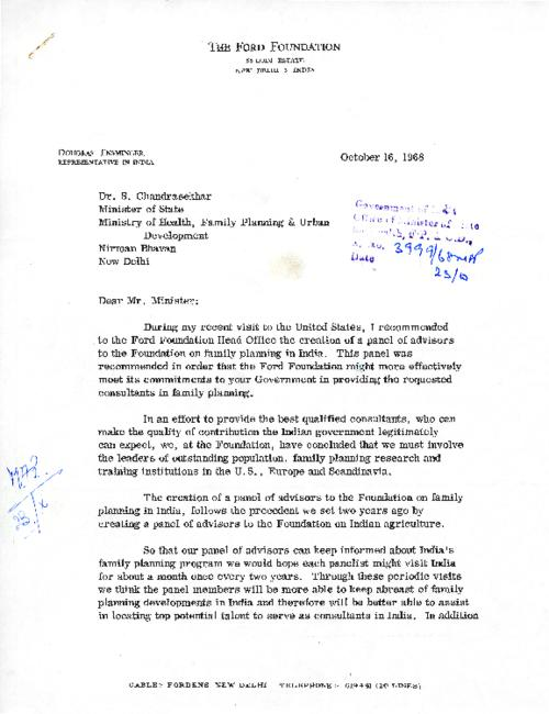 Douglas Ensminger to Dr Chandrasekhar requesting creation of panel of advisors