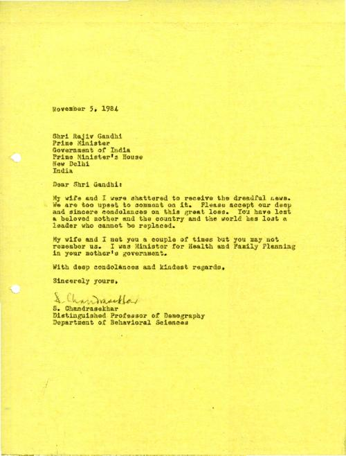 Condolence letter to Shri Rajiv on death of his mother, Indira Gandhi