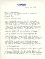 Sanger's letter re: Chandrasekhar talk