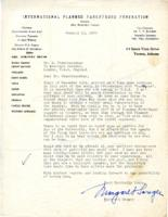 Sanger's letter re: Chandrasekhar's trip