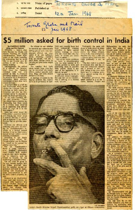 $5 Million Asked For Birth Control in India--The Massive Problem of Population Control--Family Planning Doesn't Catch on in India--Minister of Family Planning Defends Madison Avenue Approach to Campaign--Chandrasekhar Advocates Inter-Caste Marriages--Plea for Inter-Caste Marriages--Legalisation of Abortion--Minister's Plea For End to All Sectional Prejudices--Marriages Can Unite India