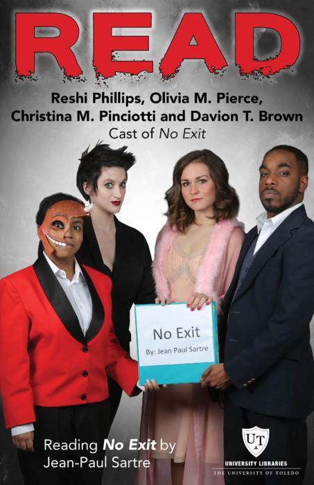 Reshi Phillips, Olivia M. Pierce, Christina M. Pinciotti and Davion, T. Brown, Cast of No Exit, Reading No Exit by Jean-Paul Sartre