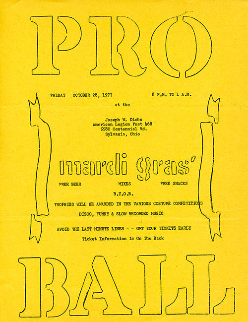 Flyer for a mardi gras party