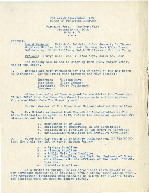 Meeting minutes of the Lisle Board of Directors  in the Parkside Hotel on September 25, 1946