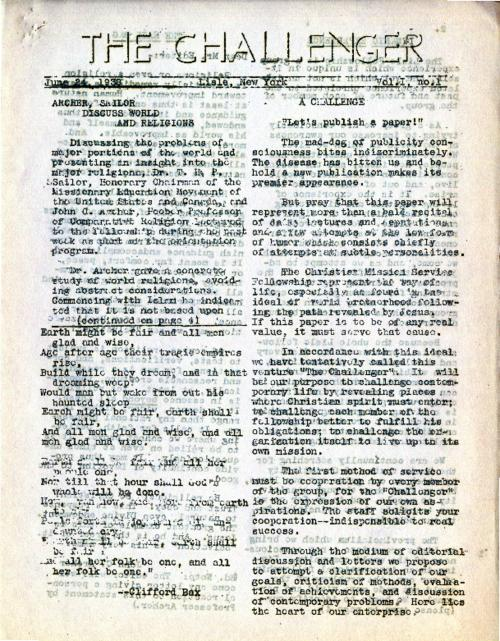 First issue of The Challenger