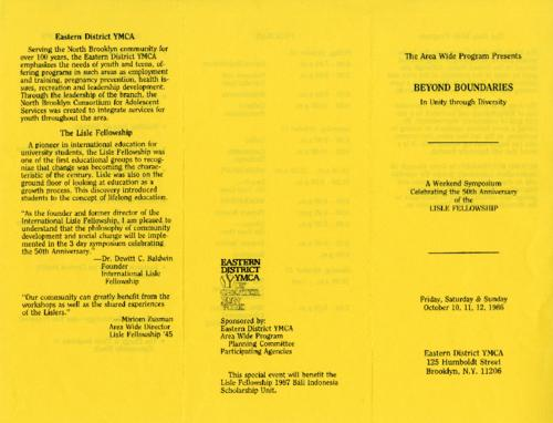 Symposium program flyer with background information on the Lisle Fellowship