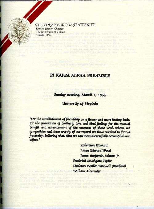 Preamble and History of Phi Kappa Alpha Fraternity