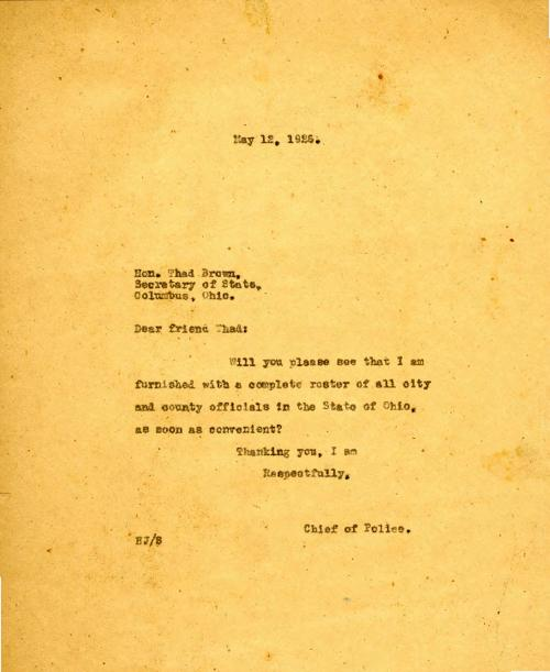 A note from Jennings to Ohio Secretary of State requesting a roster of city and county officials