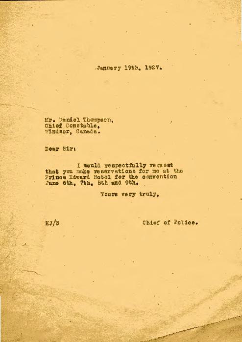 Jennings asks Chief Constable of Windsor, Ontario to make reservations for the convention