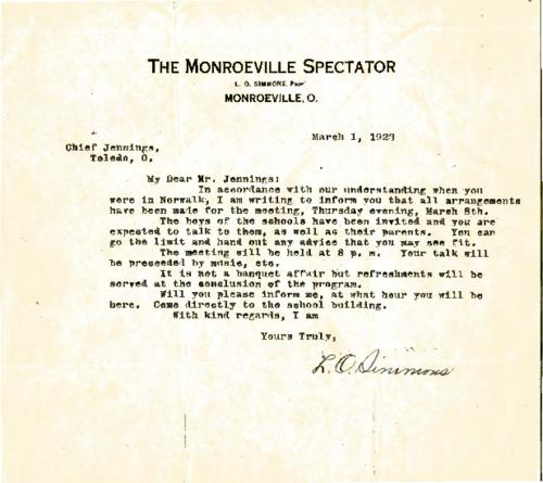 Note by L. O. Simmons regarding Jennings's scheduled talk to boys at the Monroeville school