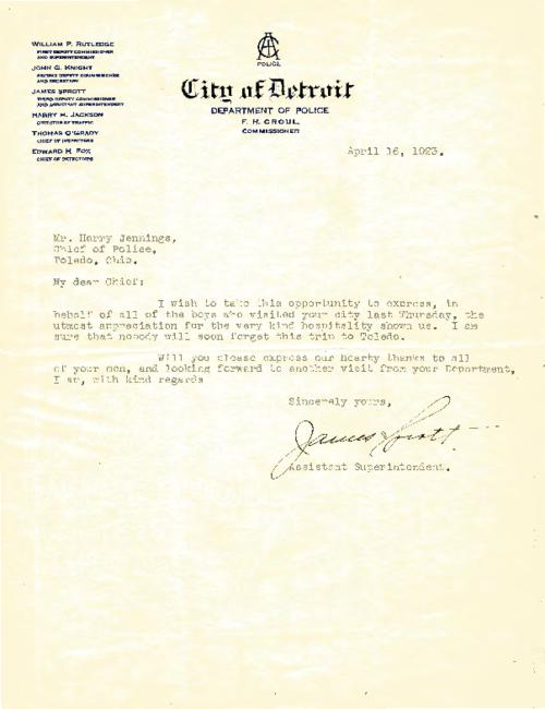 Letter of appreciation from Detroit Police Superintendent James Sprott in reference to a visit to Toledo from Detroit