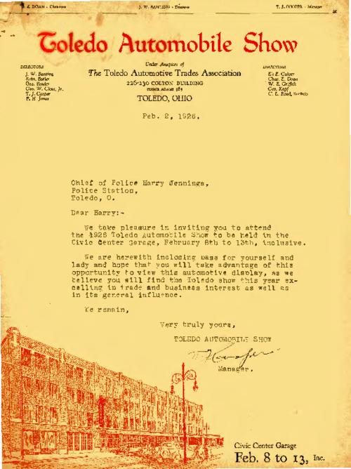 An invitation from T.J. Cooper for Jennings to attend the Toledo Automobile Show at the Civic Center Garage
