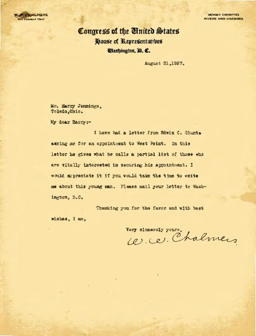 Congressman W. W. Chalmers writes to Jennings in reference to a potential cadet
