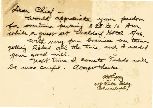 A handwritten note to Jennings asking his pardon for overtime parking outside Waldorf Hotel (undated)