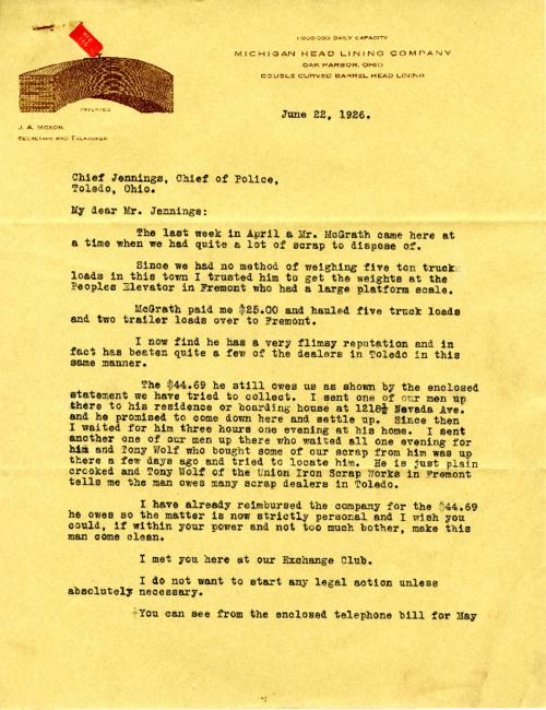 Manager of the Lacey Williams Company complains to Jennings about a Mr. McGrath disposing tons of scrap without paying