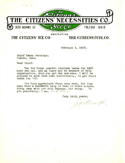 The Citizens' Ice Company writes Jennings about the 1927 courtesy cards