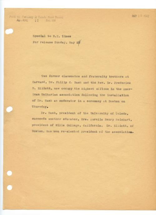 University of Toledo press releases, May 8, 1942. American Unitarian association moderator installation ceremony.