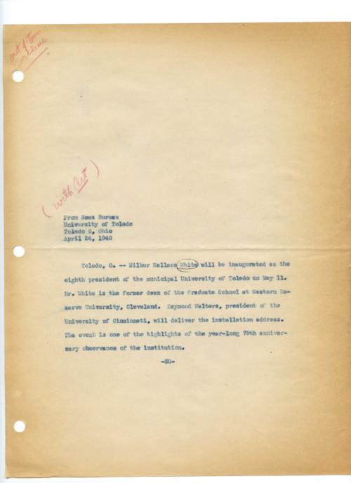 University of Toledo press releases, March 12 to June 10, 1948. Dr. Wilbur Wallace White inaugurated as new UT president